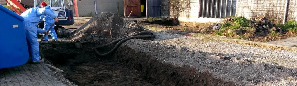 foto graafwerk kabels en verontreinigde grond